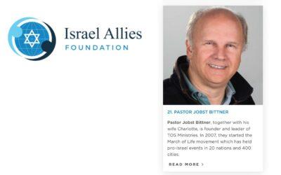 "Jobst Bittner nominated on ""Israel´s Top 50 Christian Allies"" list"